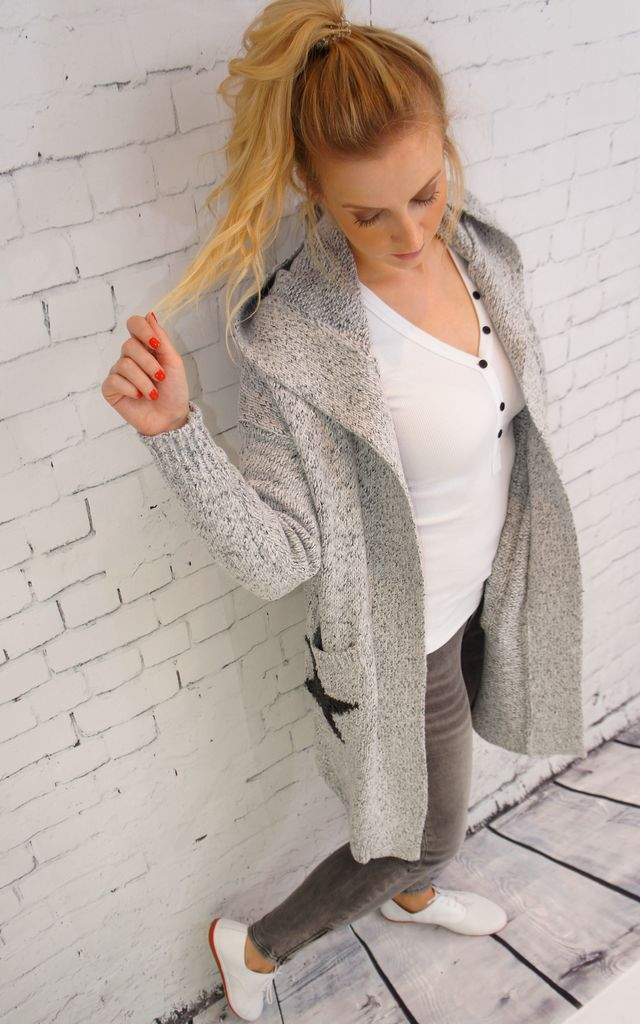 LONG SLEEVE GREY HOODIE CARDIGAN WITH BLACK STARS by E&A Fashion