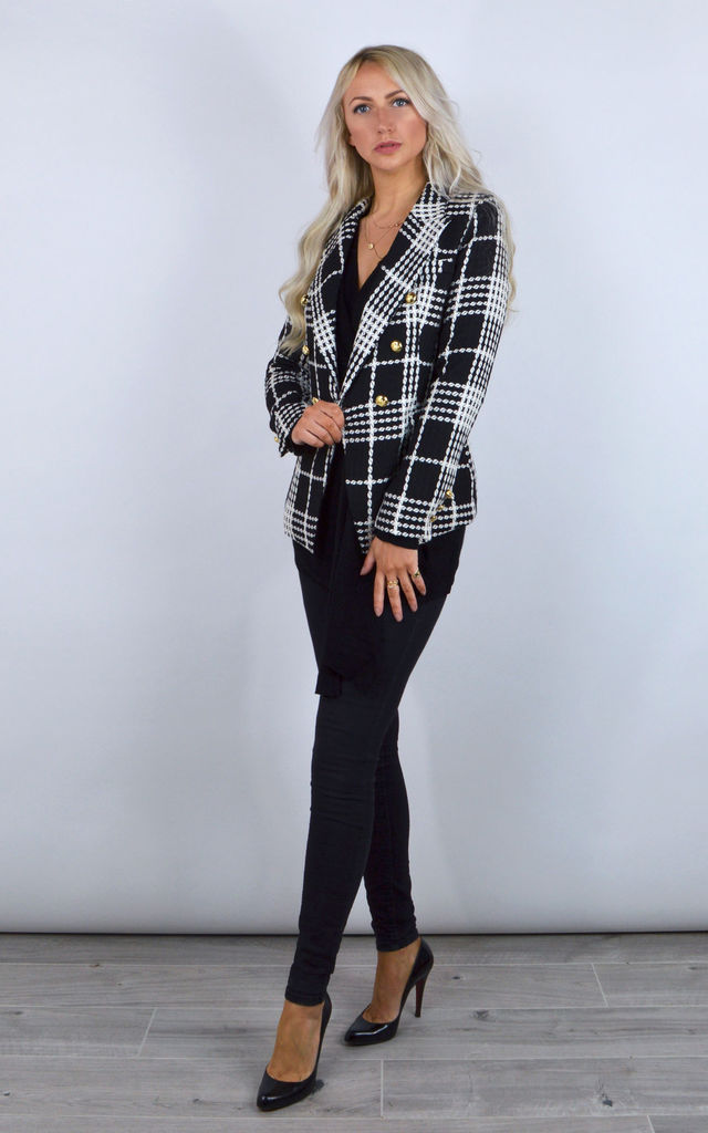 Connie Double Breasted Blazer in Black & White Check by Henry Hunt