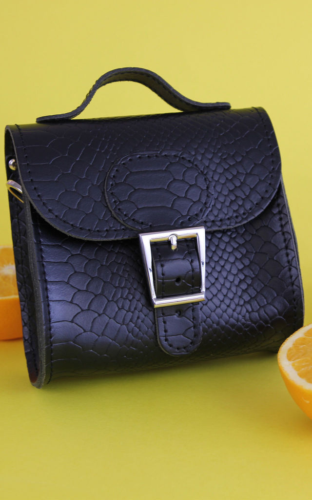 Croc Print Mini Leather Cross Body Bag in Black by Brit-Stitch