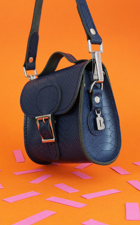 Croc Print Mini Leather Cross Body Bag in Navy Blue by Brit-Stitch