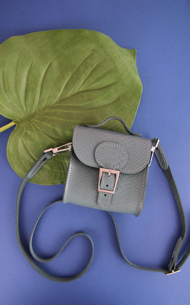 Croc Print Mini Leather Cross Body Bag In Sea Grey by Brit-Stitch Product photo