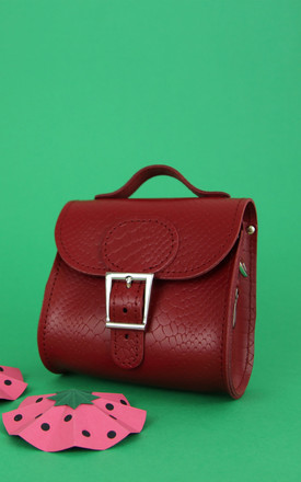 Croc Print Mini Leather Cross Body Bag In Deep Red by Brit-Stitch Product photo