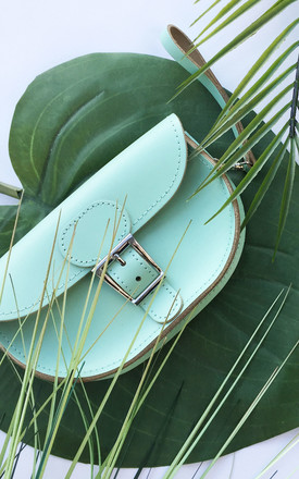 Small Leather Clutch Bag In Mint Green by Brit-Stitch Product photo