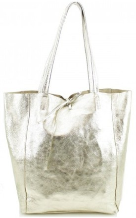 Gold Metallic Leather Shopper Bag by Avenue L Boutique