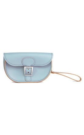 Small Leather Clutch Bag In Pastel Blue by Brit-Stitch Product photo