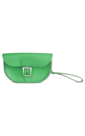Small Leather Clutch Bag in Bright Green by Brit-Stitch