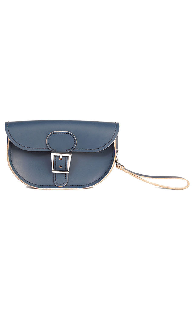 Small Leather Clutch Bag in Navy Blue by Brit-Stitch