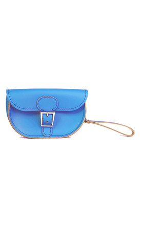 Small Leather Clutch Bag In Cobalt Blue by Brit-Stitch Product photo