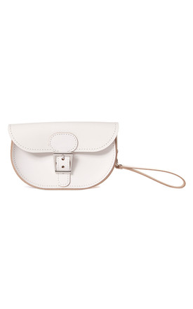Small Leather Clutch Bag In White by Brit-Stitch Product photo