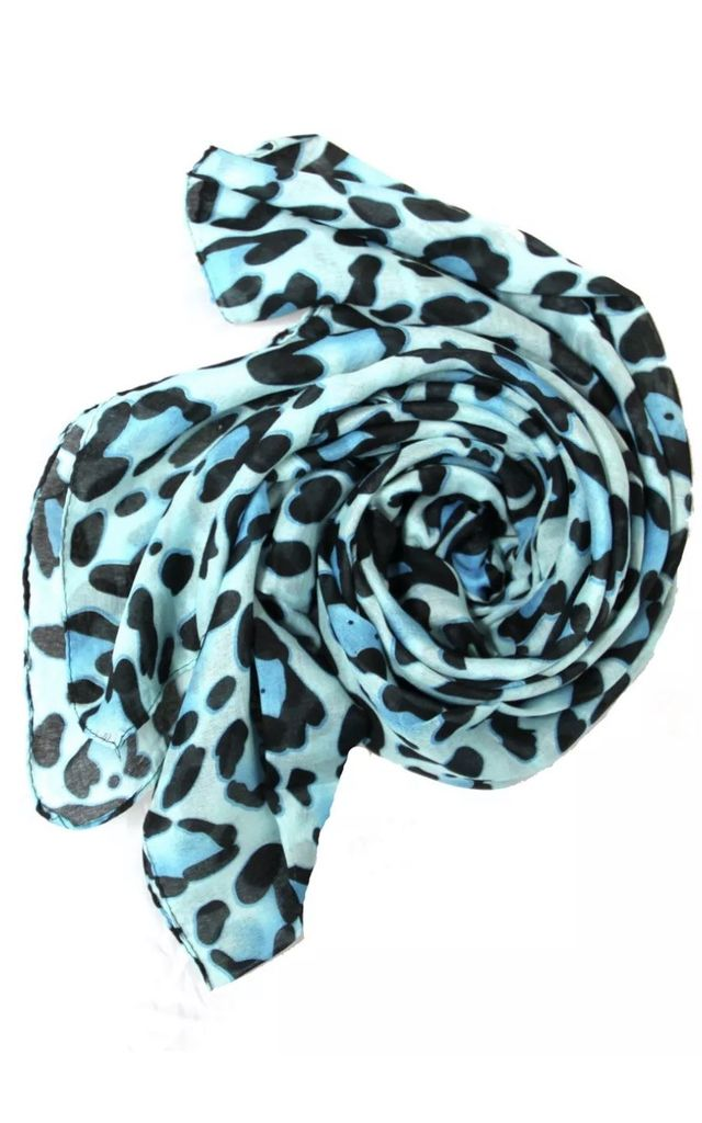 ALB Sky Blue Animal Leopard Print Scarf by Avenue L Boutique