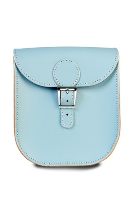 Medium Leather Satchel Shoulder Bag In Light Blue by Brit-Stitch Product photo