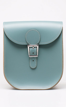 Medium Leather Satchel Shoulder Bag In Blush Pink Sea Grey by Brit-Stitch Product photo
