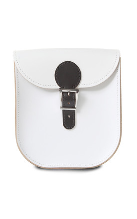 Medium Leather Monochrome Satchel Shoulder Bag In White & Black by Brit-Stitch Product photo