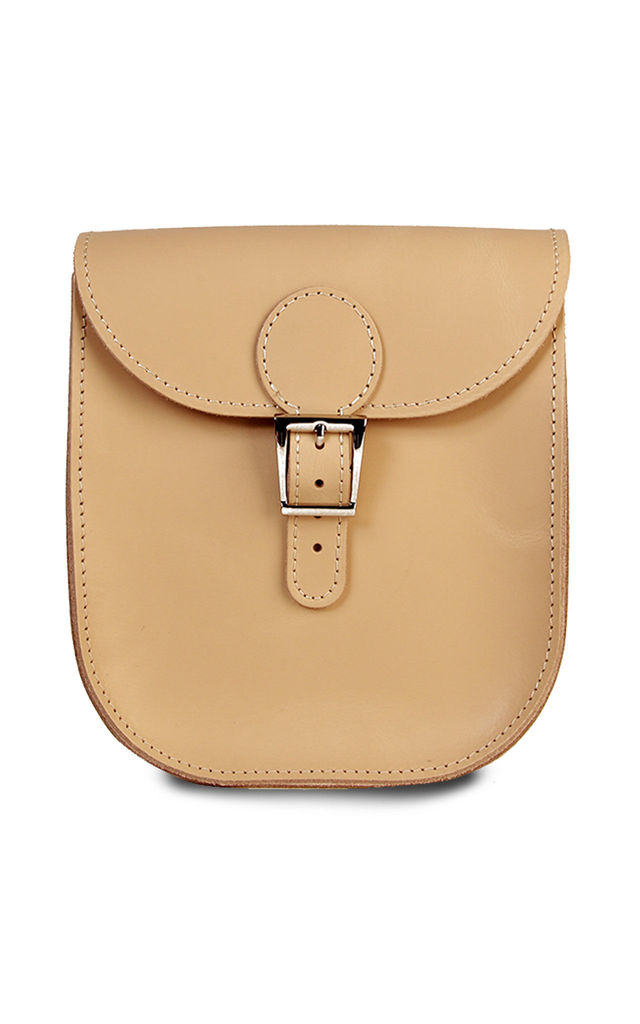 Medium Leather Satchel Shoulder Bag in Beige by Brit-Stitch