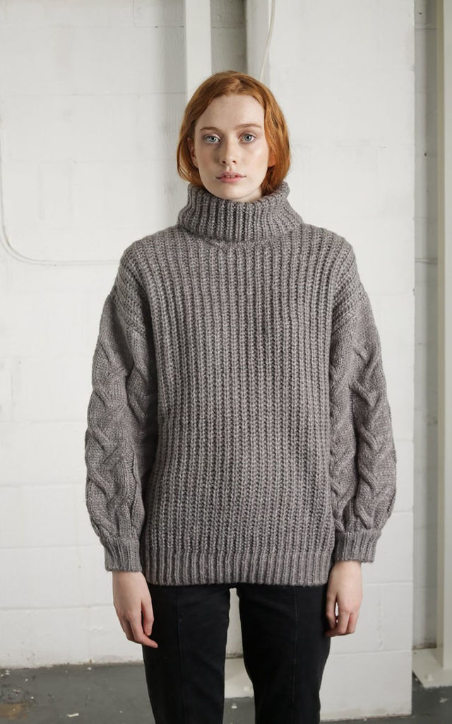 a2d20518c2 ... Grey Chunky Knit Roll Neck Oversized Jumper by Free Spirits ...