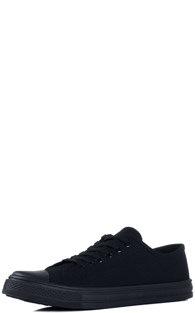 NEVER FEAR Lace Up Flat Trainers Shoes - Black Canvas by SpyLoveBuy