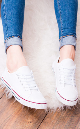 Never Fear Lace Up Flat Trainers Shoes   White Canvas by SpyLoveBuy Product photo