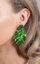 Light Weight Acrylic Tropical Leaf Drop Earrings Green by Saint Genies