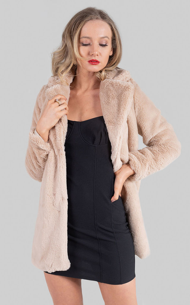 Caramel Faux Fur Longline Coat by Saint Genies