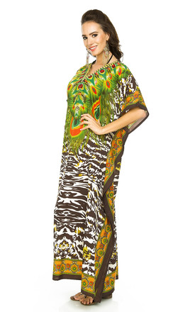 d5a8f6a4e0 Full Length Maxi Kimono Kaftan Cover Up In Brown | Looking Glam ...
