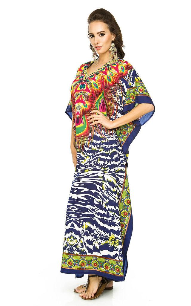 Full Length Maxi Kimono Kaftan Cover Up in Navy by Looking Glam
