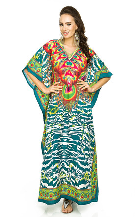 Full Length Maxi Kimono Kaftan Cover Up in Teal by Looking Glam