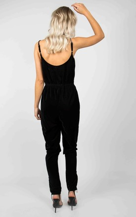 Black Velvet Strappy Jumpsuit by Ettie
