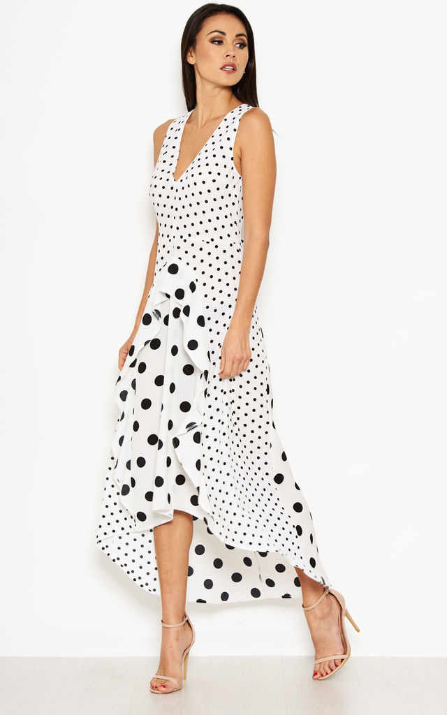 Cream Polka Dot Asymmetric Dress Ax Paris Silkfred