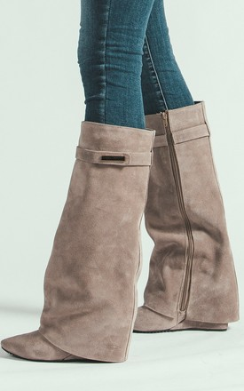 BEIGE SUEDE LEATHER WEDGED HIGH BOOTS by E&A Fashion