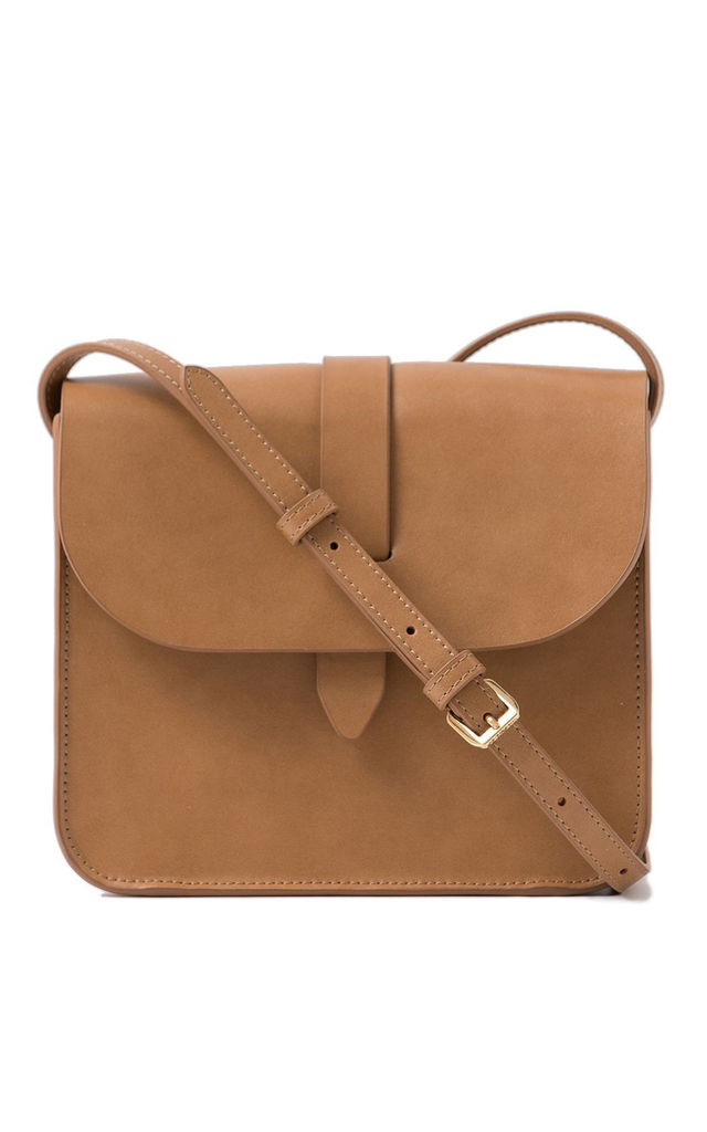 Leather Small Crossbody Bag in Tan by MOOD BAG