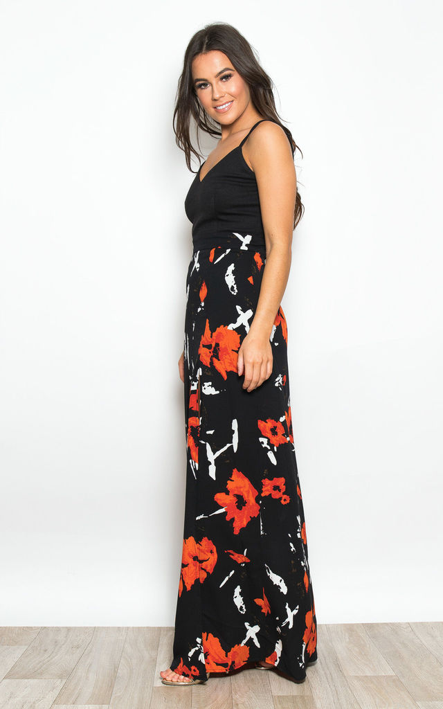 Farah Floral Cami Split Maxi Dress Black / Orange by Girl In Mind