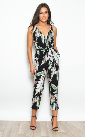 b84402cc4a Bella Tropical V Neck Wrap Straight Leg Jumpsuit Black