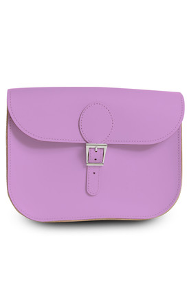Large Leather Satchel Shoulder Bag in Lilac by Brit-Stitch