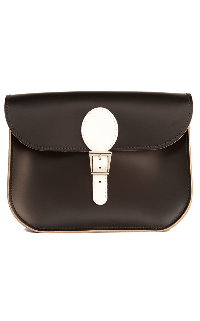 Large Leather Monochrome Satchel Shoulder Bag in Black and White by Brit-Stitch
