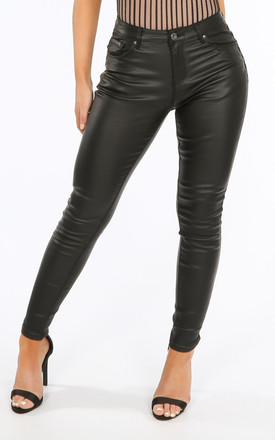 Black Skinny Wax Coated Jeans by Dressed In Lucy