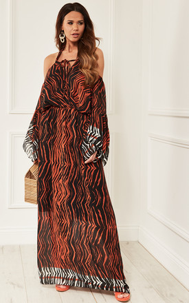 Orange Zebra Print Halterneck Maxi Dress by Bella and Blue Product photo