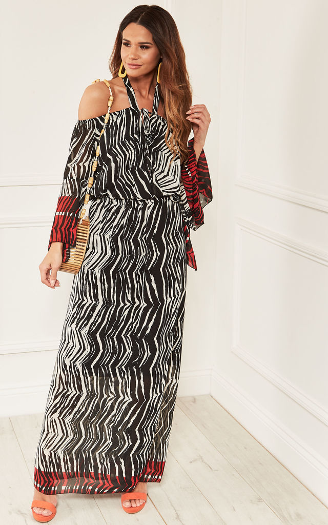 0ac19ef4c60 Black and White Zebra Print Halterneck Maxi Dress by Lilah Rose