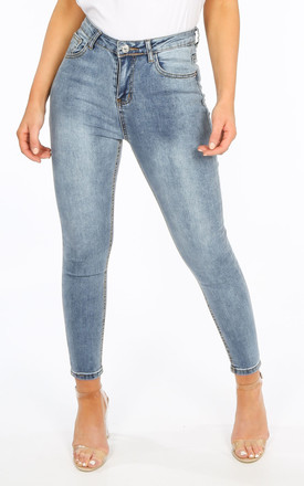 Acid Wash High Waisted Ankle Grazer Jeans by Dressed In Lucy