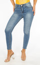 Mid Wash High Waisted Ankle Grazer Jeans by Dressed In Lucy