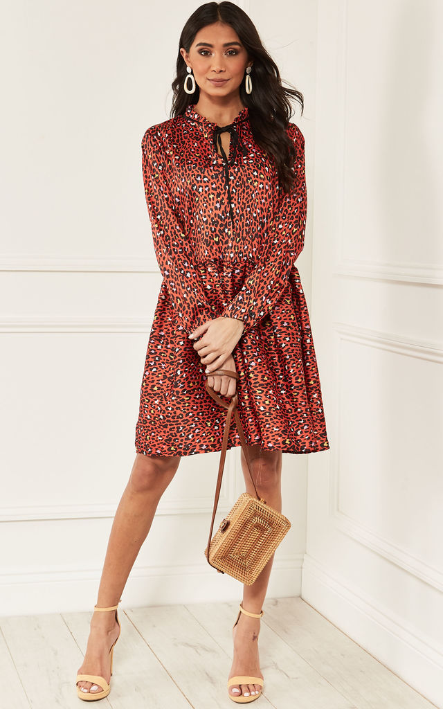 Red Leopard Print Silky Tie Neck Smock Dress by Bella and Blue