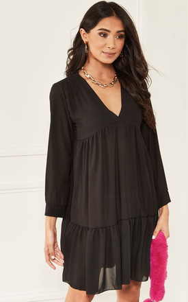Black Long Sleeve V Neck Smock Dress by Bella and Blue Product photo