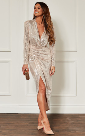 08e4bf583e Gold Deep V Wrap Over Sequin Dress