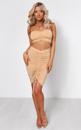 Alia Beige Ruched Co-Ord by The Fashion Bible