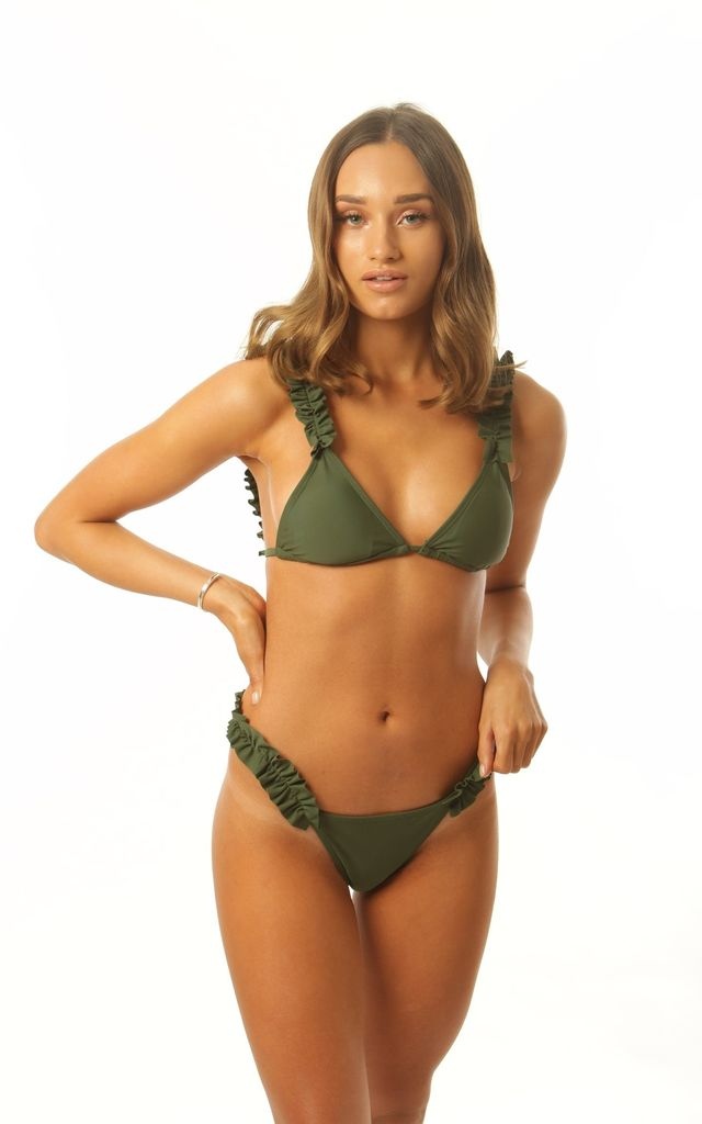 Khaki Green Frill Bikini with tie back by Get Styled UK