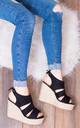 MERMADE Platform Wedge Heel Espadrille Sandals Shoes - Black Suede Style by SpyLoveBuy