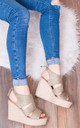 MERMADE Platform Wedge Heel Espadrille Sandals Shoes - Khaki Suede Style by SpyLoveBuy