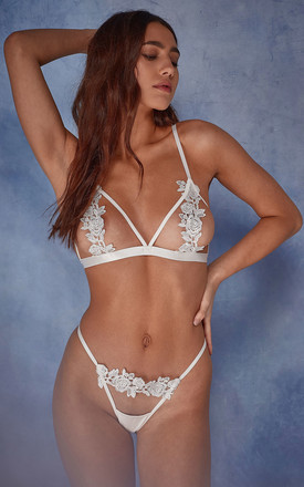 Wolf & Whistle Billie open cup triangle bra ivory by Wolf & Whistle