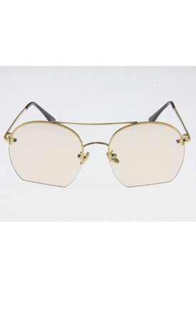 Light Peach with Gold Metal Frame Double Bridge Lens Sunglasses by Urban Mist