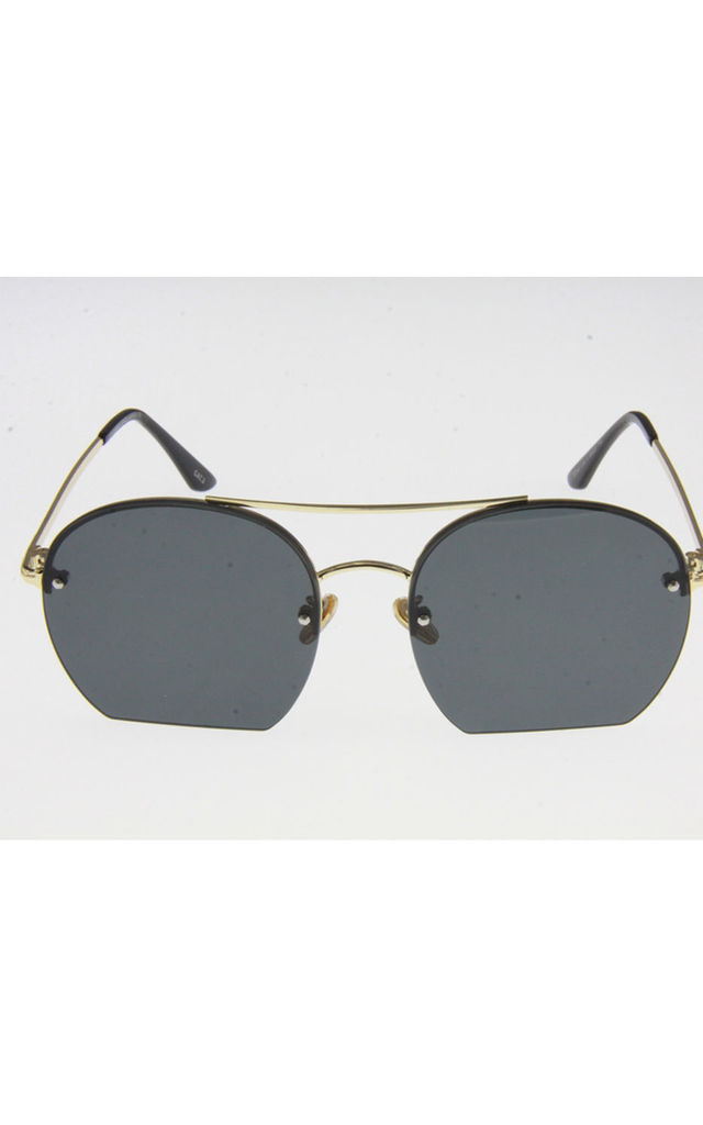 Black with Gold Metal Frame Double Bridge Lens Sunglasses by Urban Mist