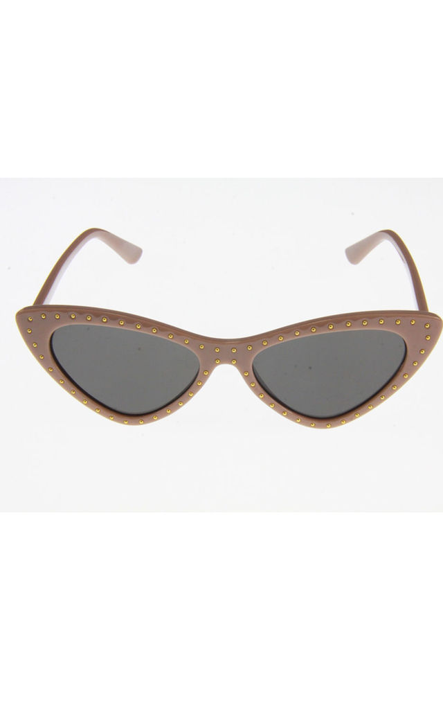 Nude Cat Eye Sunglasses With Mini Studs by Urban Mist